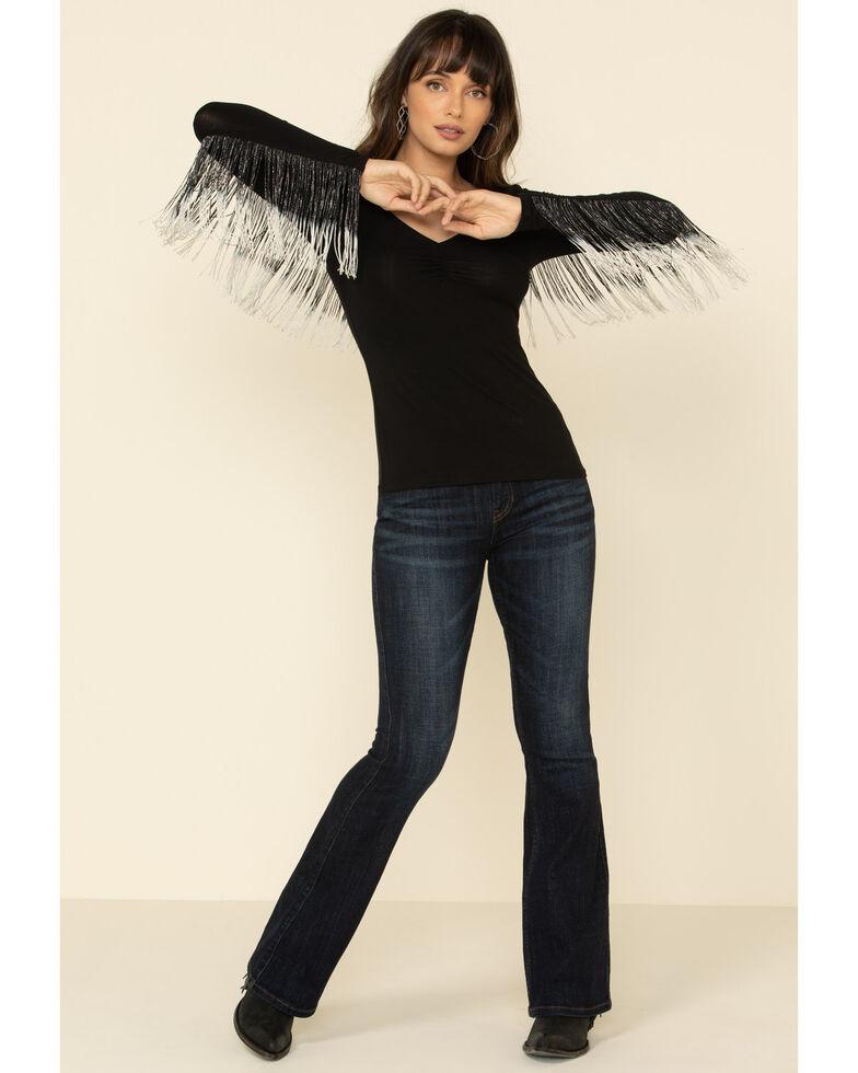 Idyllwind Women's Studded Flying Fringe Top , Black, hi-res