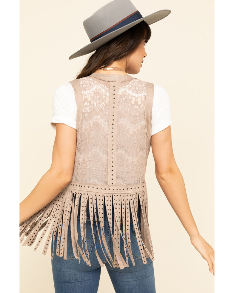 Vocal Women's Lace Studded Fringe Vest, Camel, hi-res