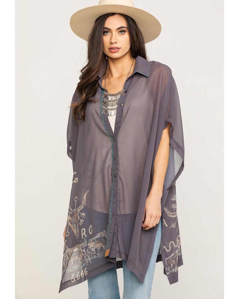Double D Ranch Women's Branding Season Poncho, Grey, hi-res