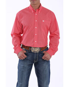 Cinch Men's Red Geo Print Button Long Sleeve Western Shirt - Big , Red, hi-res