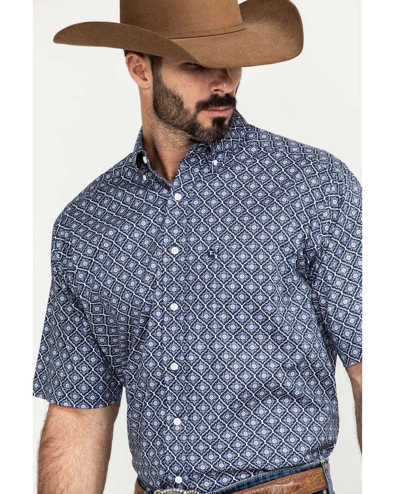 Tuf Cooper Men's Navy Stretch Geo Print Short Sleeve Western Shirt , Navy, hi-res