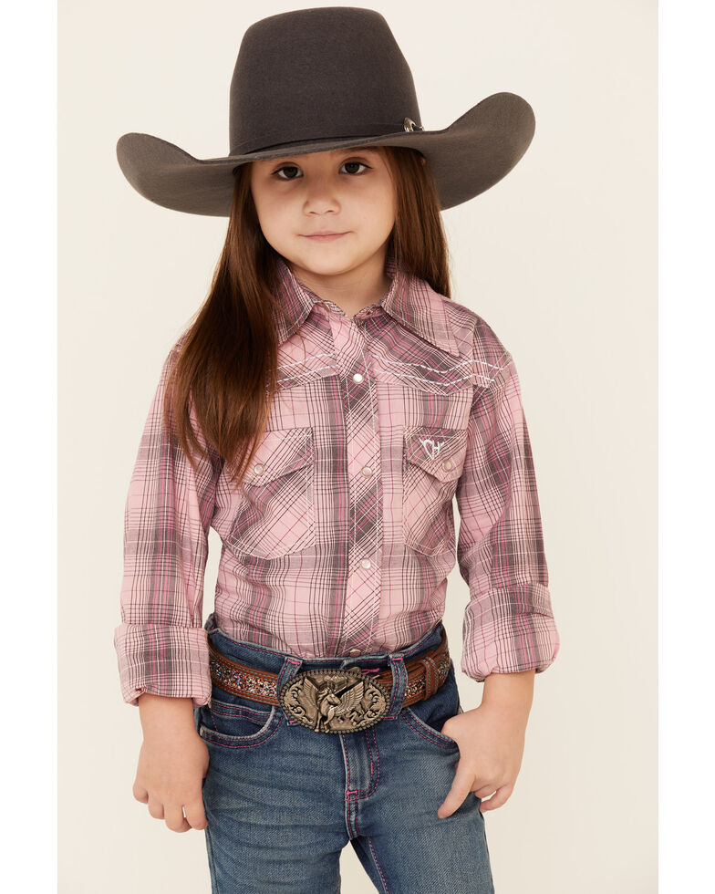 Cowgirl Hardware Girls' Pink Plaid Long Sleeve Western Shirt , Pink, hi-res