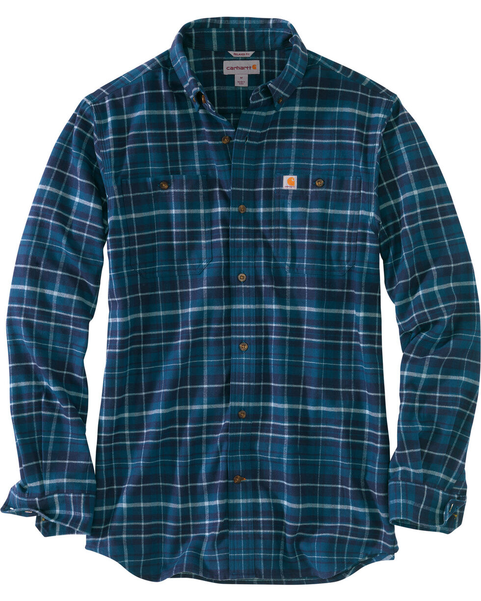 Carhartt Men's Trumbull Plaid Flannel Work Shirt - Tall , Medium Blue, hi-res