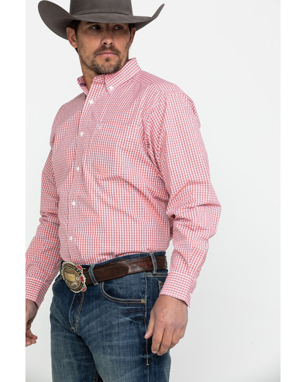 Ariat Men's Drasco Check Plaid Long Sleeve Western Shirt , Pink, hi-res