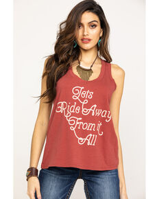 Shyanne Life Women's Rust Let's Ride Away Graphic Tank Top, Rust Copper, hi-res