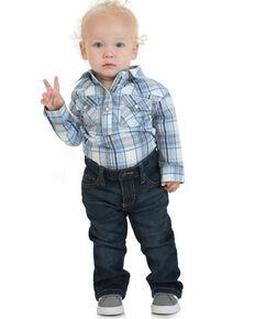 Wrangler Infant Boys' Multi Plaid Long Sleeve Snap Onesie , Blue, hi-res