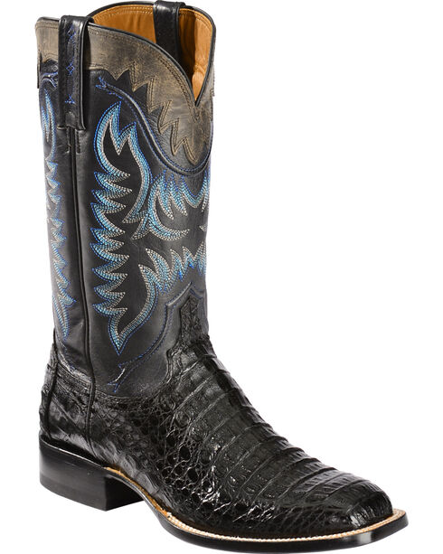 Lucchese Men's Rhys Hornback Caiman Exotic Western Boots, Black, hi-res