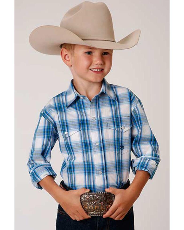 Amarillo Boys' Blue Brook Plaid Long Sleeve Western Shirt , Blue, hi-res
