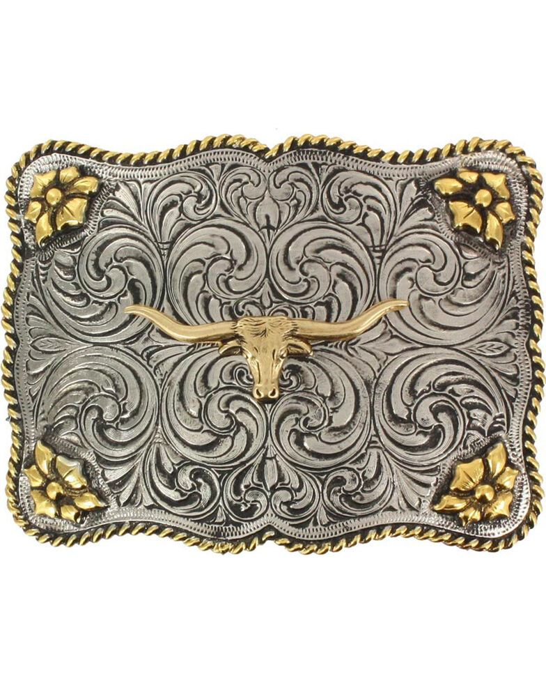 Cody James Men's Interchangeable Longhorn Belt Buckle, Silver, hi-res