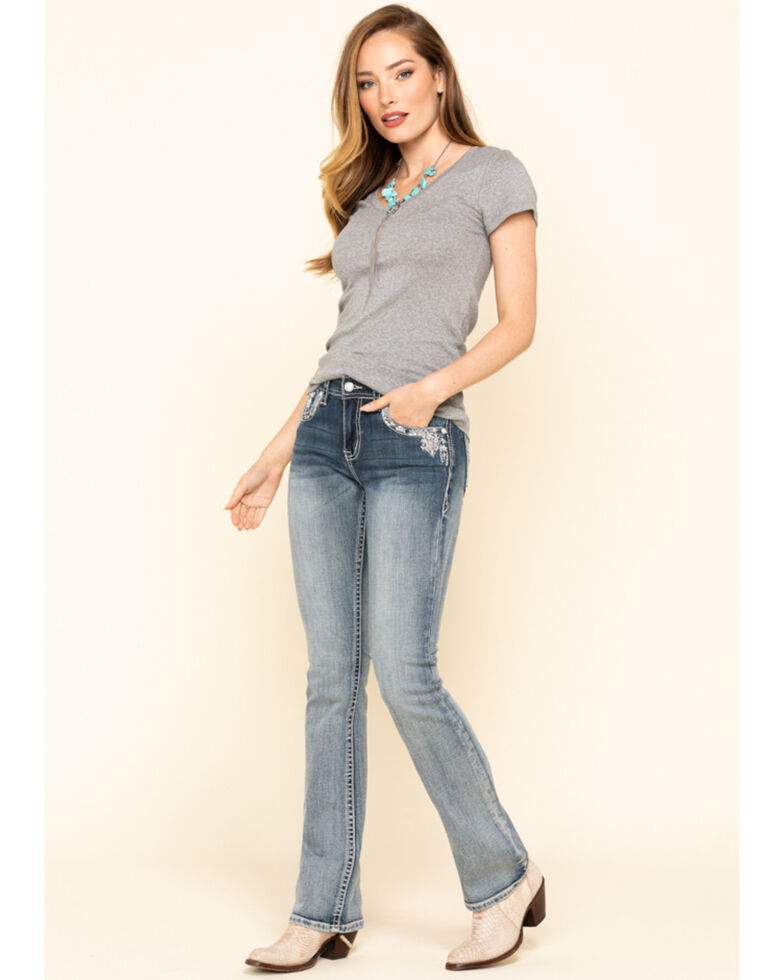 Grace in LA Women's Light Wash Deco Bootcut Jeans  , Blue, hi-res