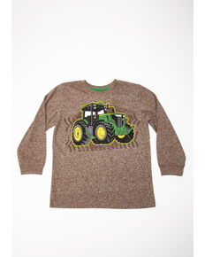 John Deere Boys' Track Tractor Graphic Long Sleeve Shirt , Brown, hi-res
