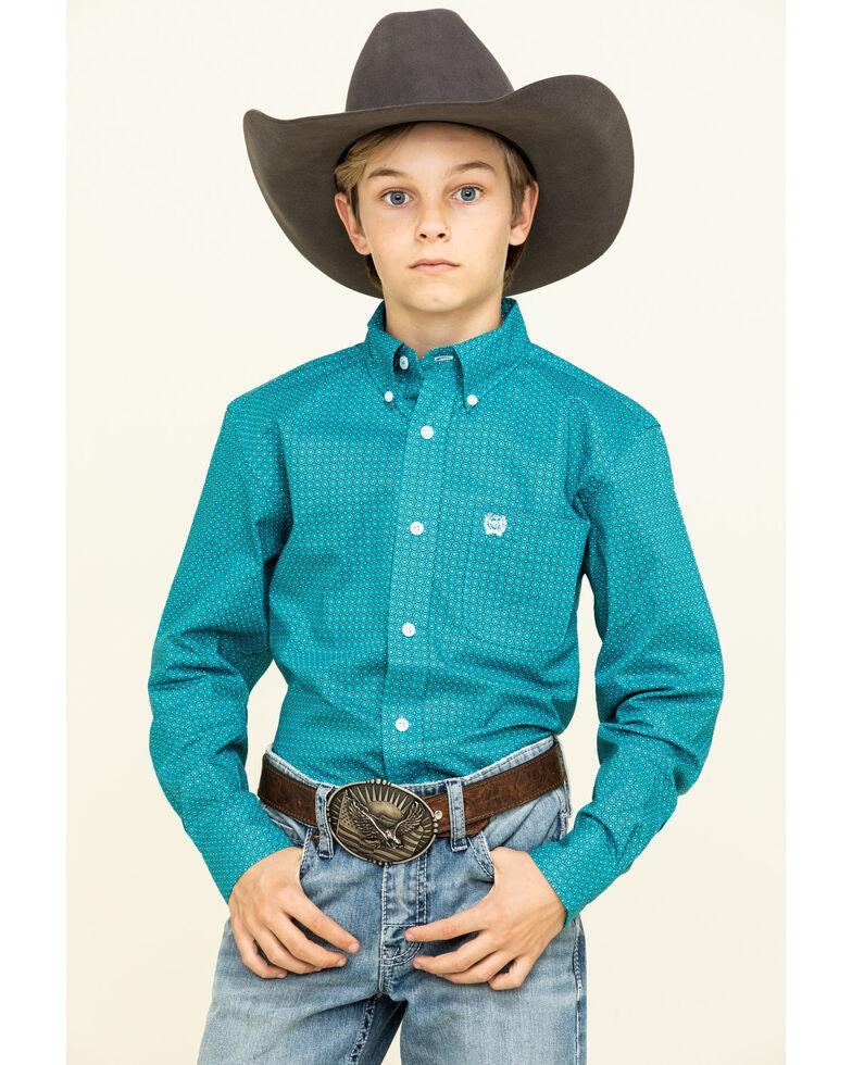 Cinch Boys' Turquoise Geo Print Long Sleeve Western Shirt , Turquoise, hi-res