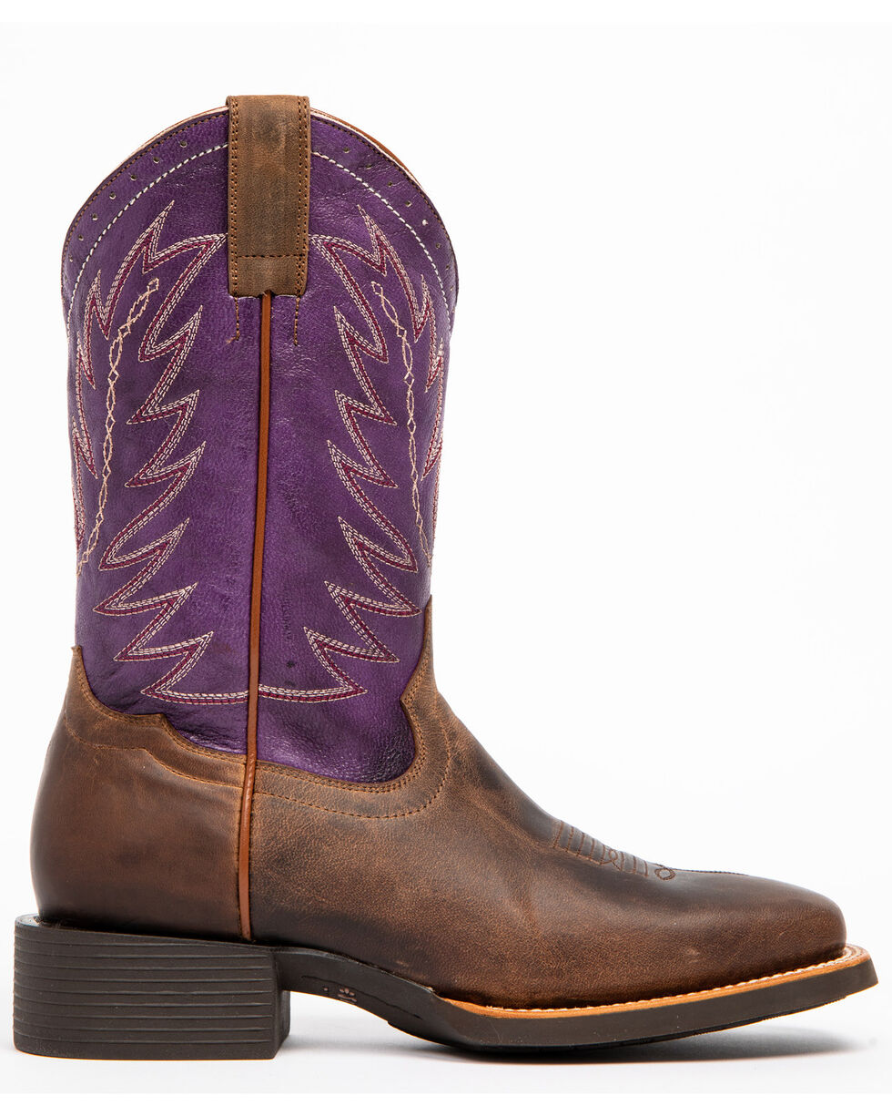 Shyanne Women's Purple Burnish Western Boots - Square Toe, Brown, hi-res