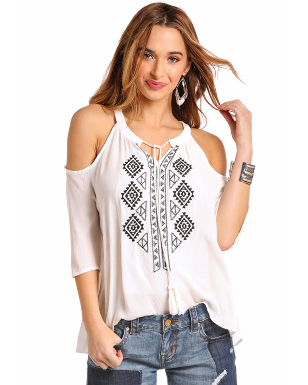 Red label by Panhandle Women's White Embroidered Cold Shoulder Top, White, hi-res