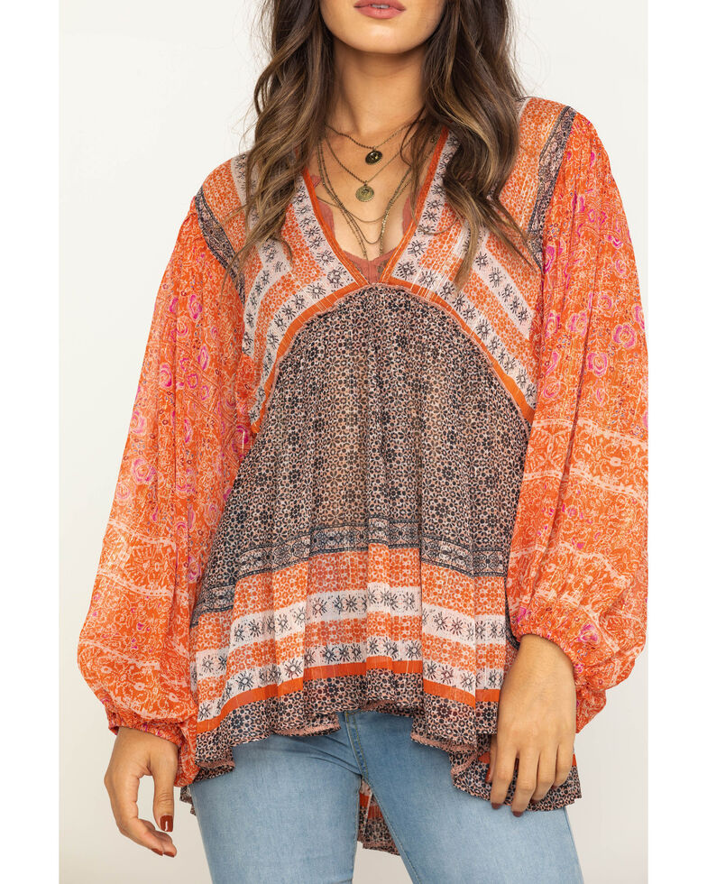 Free People Women's Blue Aliyah Print Tunic, Pink, hi-res