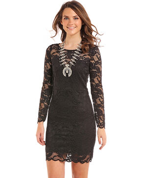 Panhandle Women's Black Lace Long Sleeve Dress, Black, hi-res