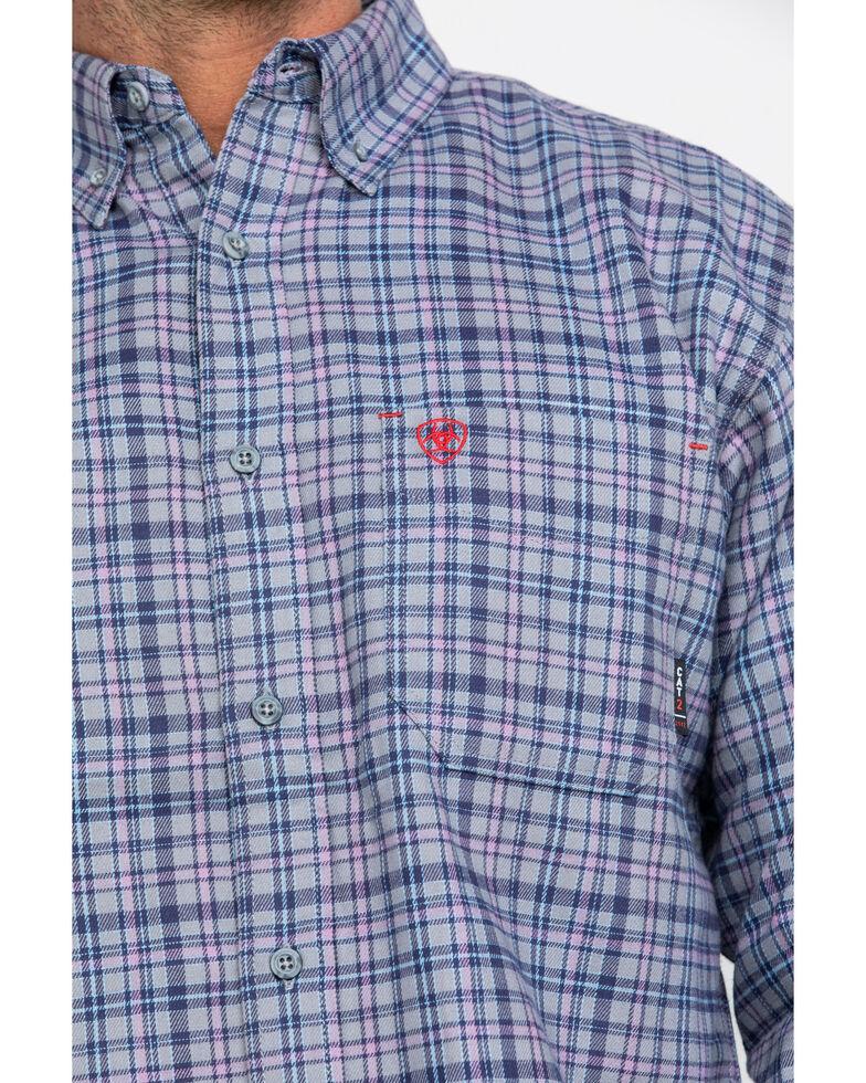 Ariat Men's FR Cherokee Plaid Long Sleeve Work Shirt , Silver, hi-res