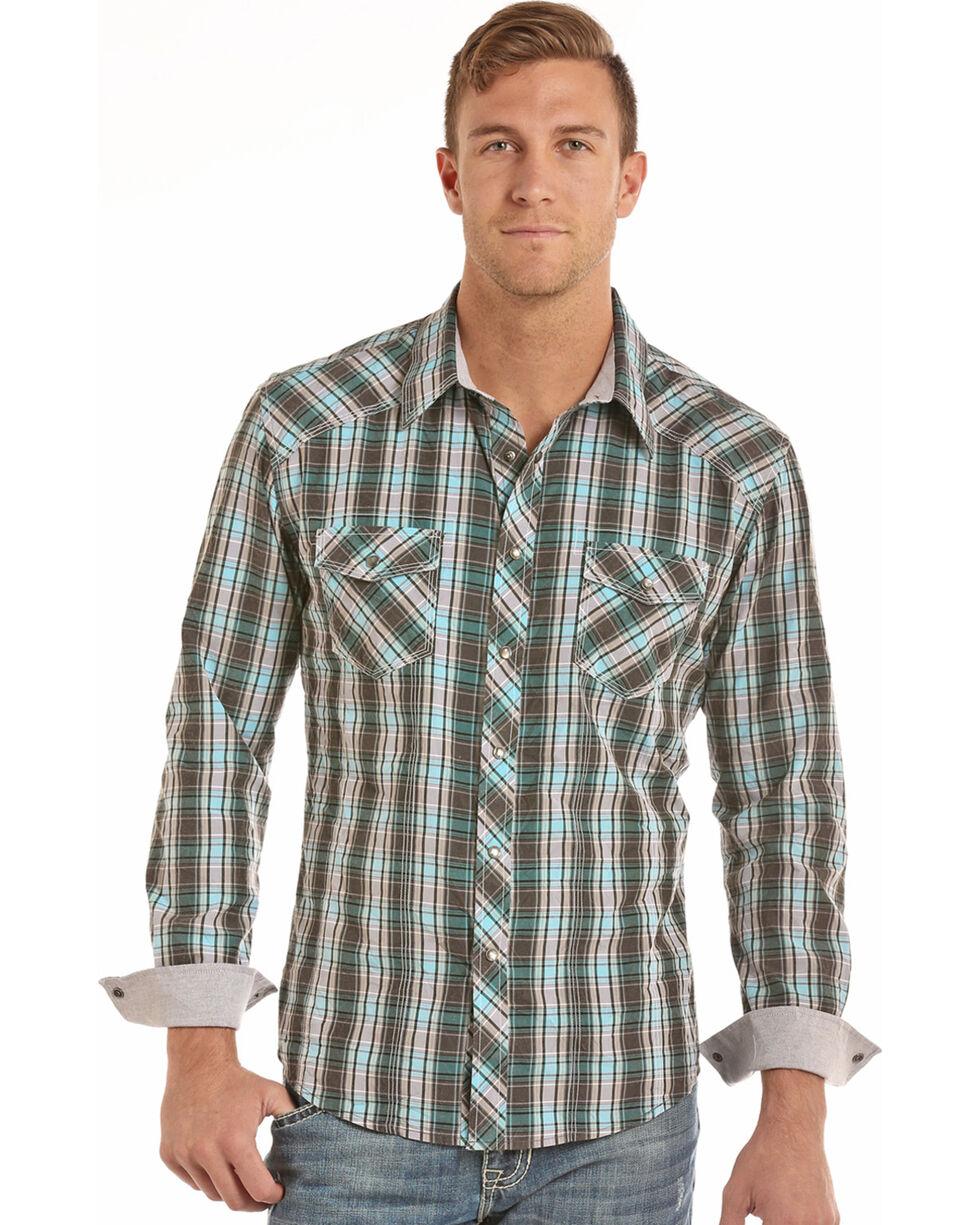 Rock & Roll Cowboy Men's Grey Crinkle Washed Plaid Long Sleeve Shirt, Grey, hi-res