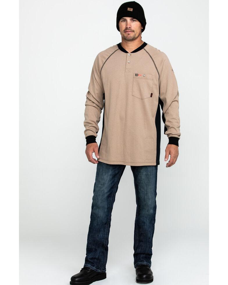 Cinch Men's FR Henley Long Sleeve Work T-Shirt - Big , Beige/khaki, hi-res