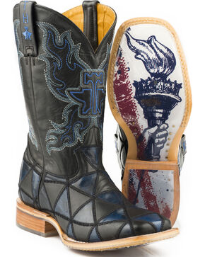 Tin Haul Men's Black N' Blue Torch Sole Cowboy Boots - Square Toe, Black, hi-res