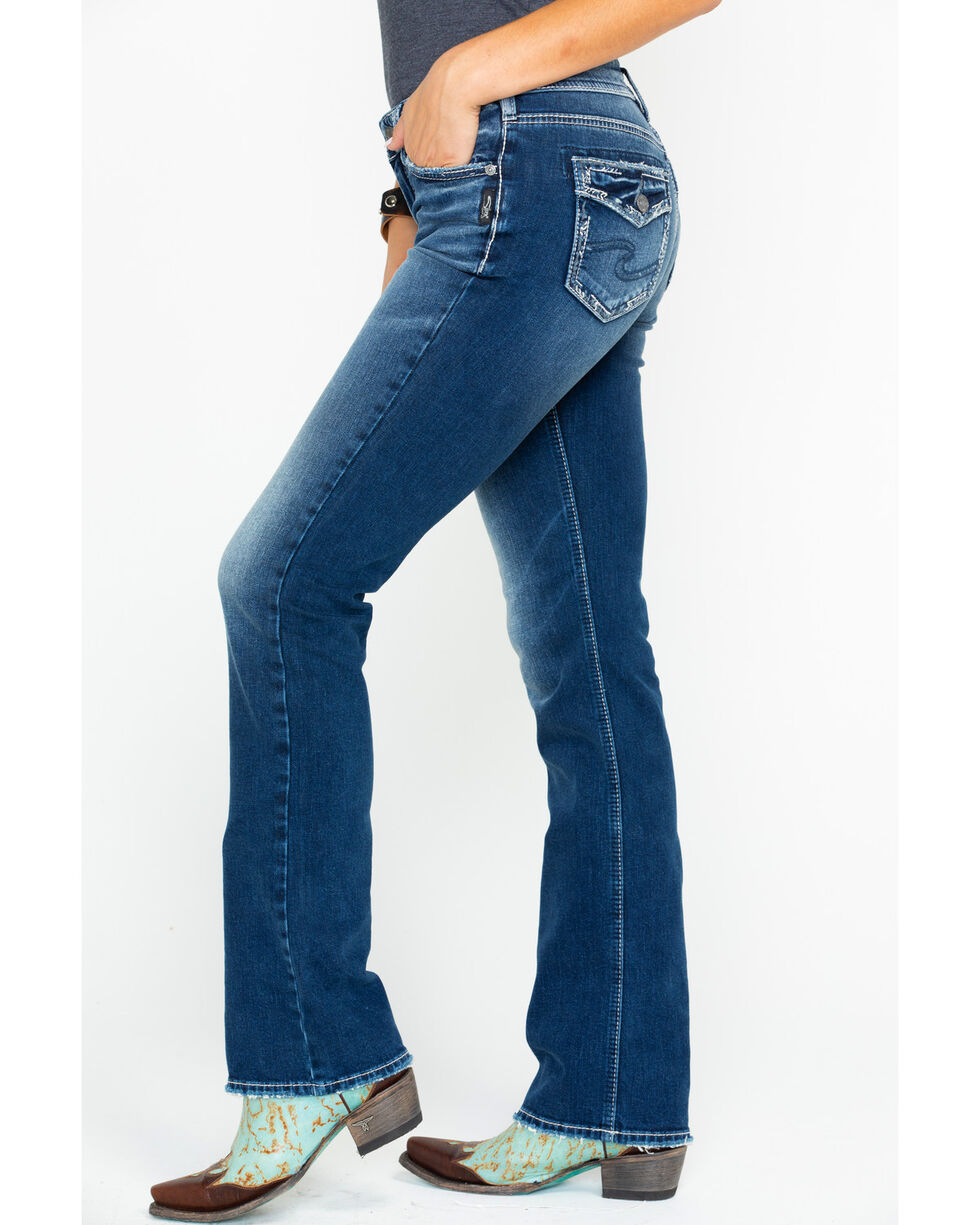 Silver Women's Suki Mid-Rise Curvy Slim Boot Cut Jeans, Indigo, hi-res