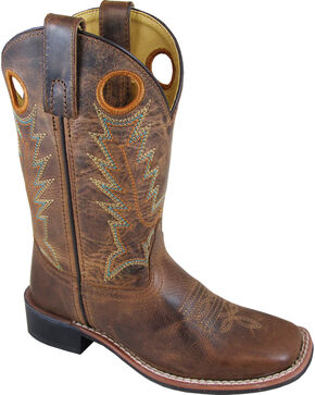 Smoky Mountain Boys' Jesse Western Boots - Square Toe , Brown, hi-res