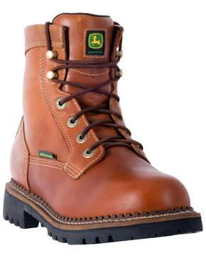 John Deere Men's Chestnut Waterproof Logger Boots - Round Toe, Chestnut, hi-res