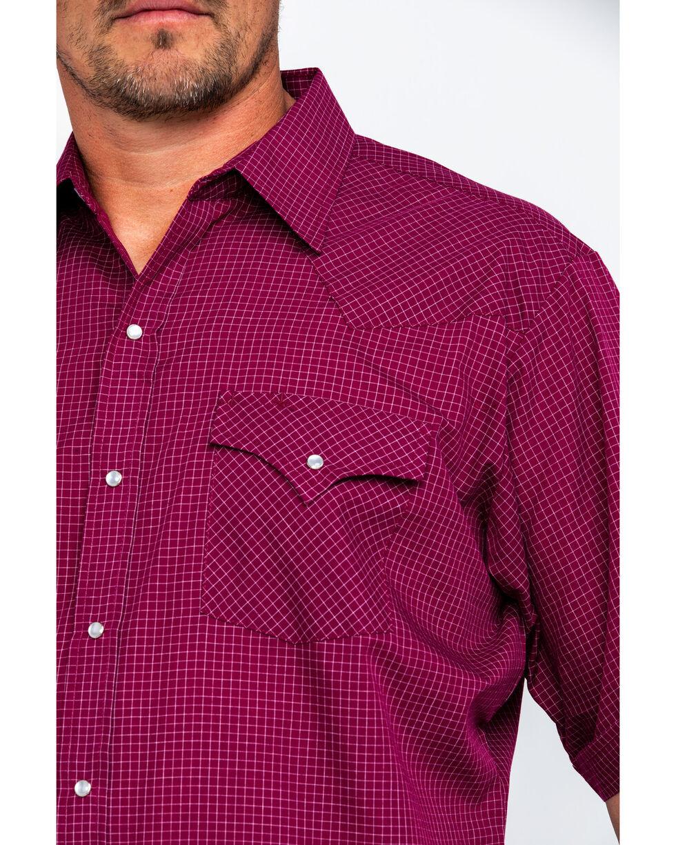 Ely Cattleman Men's Small Check Plaid Short Sleeve Western Shirt , Burgundy, hi-res