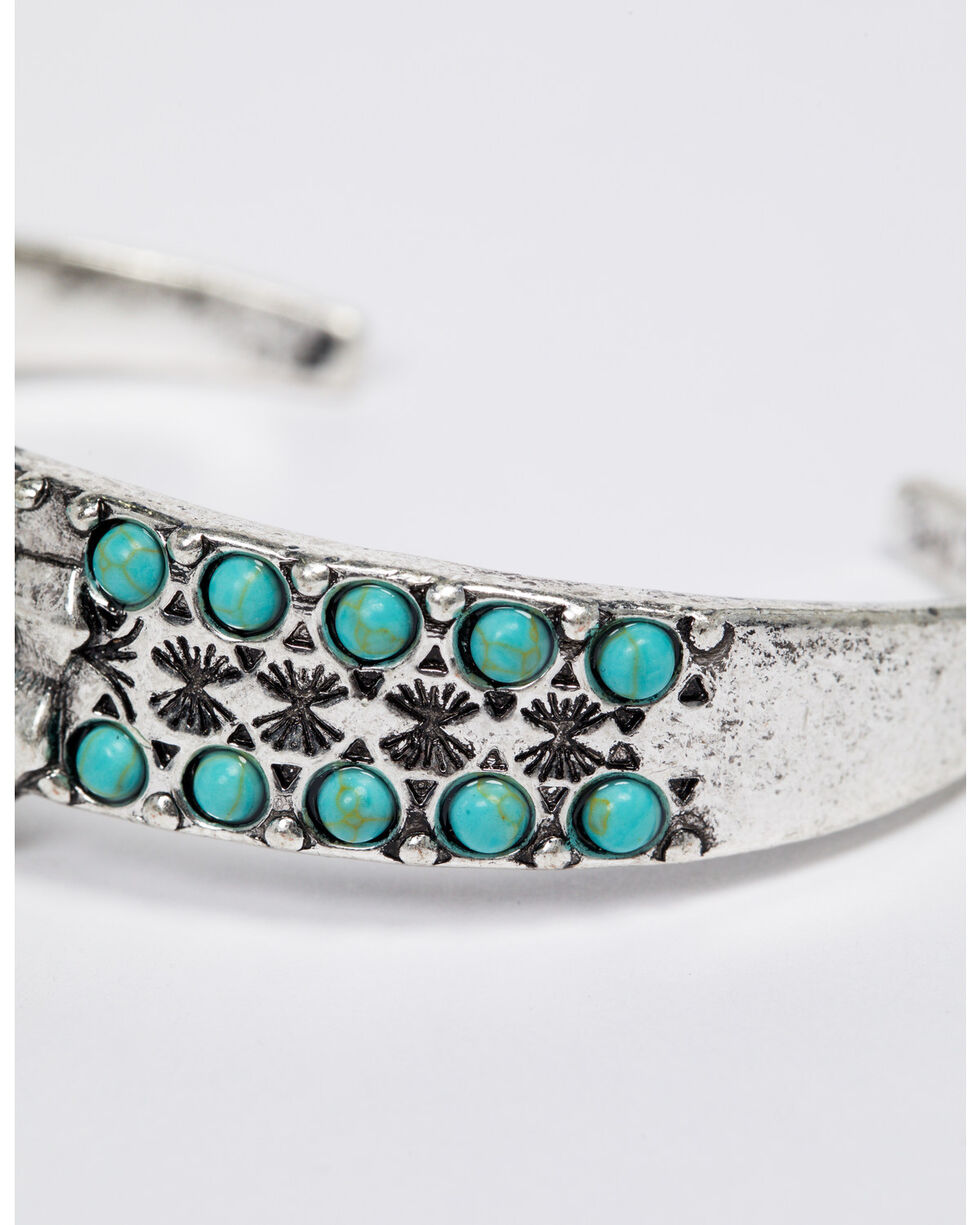 Shyanne Women's Emma Rae Two Row Turquoise Center Stone Cuff, Turquoise, hi-res