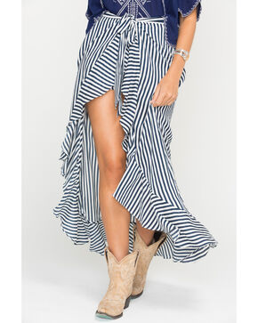 Miss Me Women's Good Intentions Striped Skort, Navy, hi-res