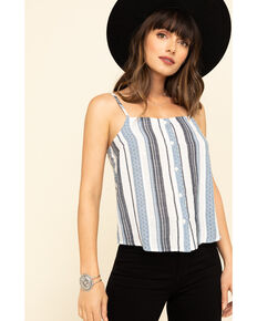 Others Follow Women's Stripe Button Catania Top, Blue, hi-res