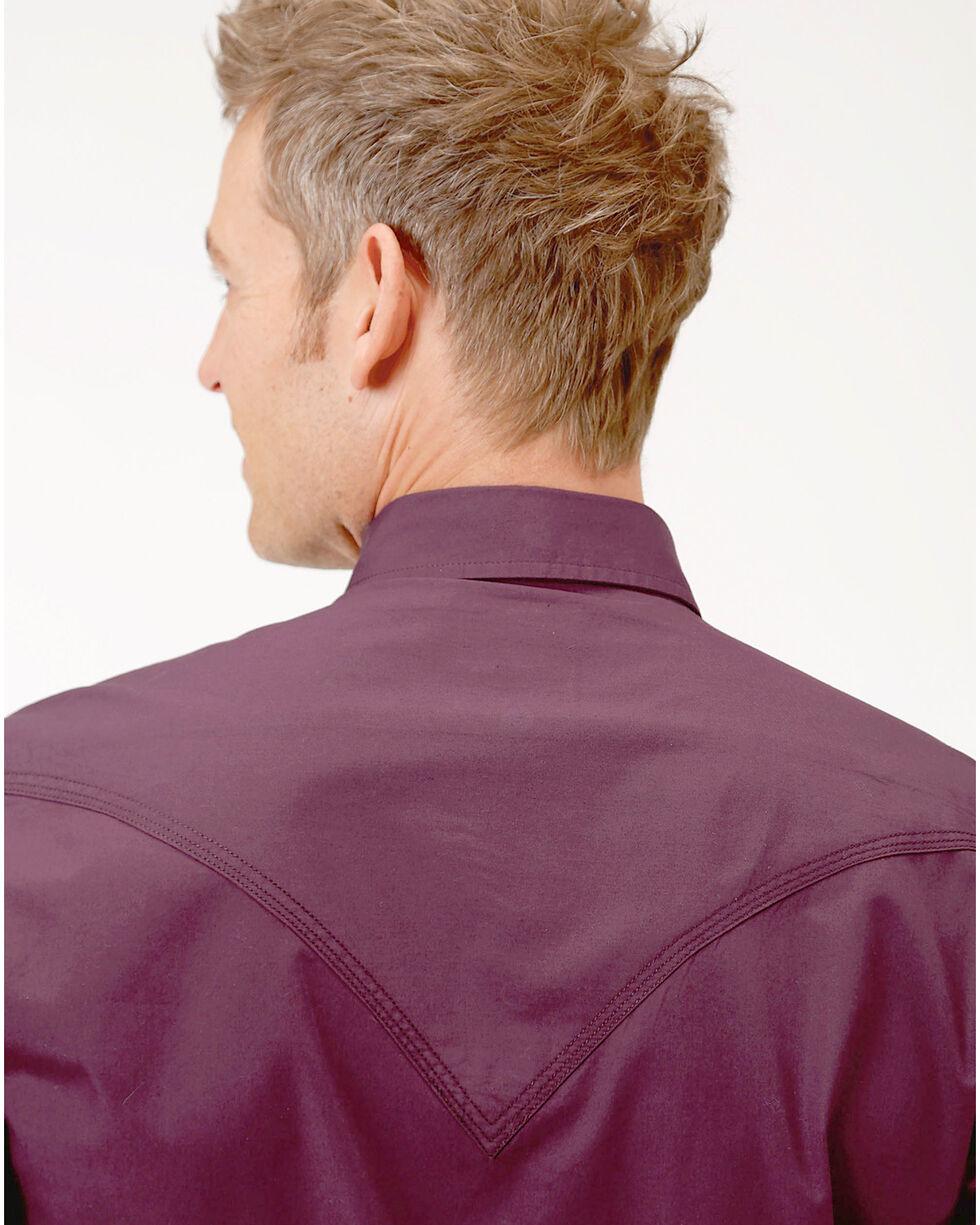 Roper Men's Performance Long Sleeve Solid Snap Shirt - Big & Tall, Burgundy, hi-res