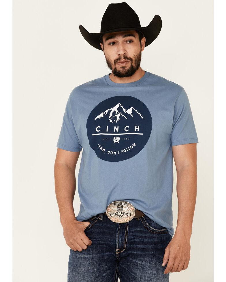 Cinch Men's Blue Mountain Circle Logo Graphic T-Shirt , Blue, hi-res