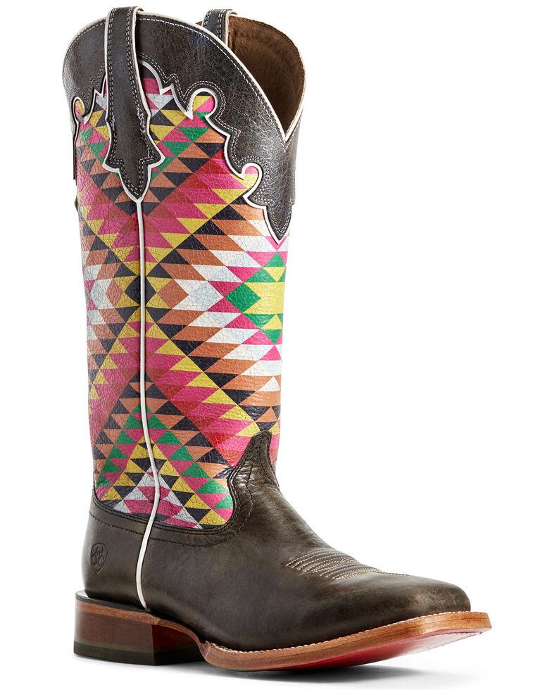 Ariat Women's Aztex Fonda Iron Western Boots - Wide Square Toe, Grey, hi-res
