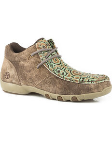 Roper Women's Suzi Tan/Turquoise Embossed Driving Moc Chukka - Moc Toe, Tan, hi-res
