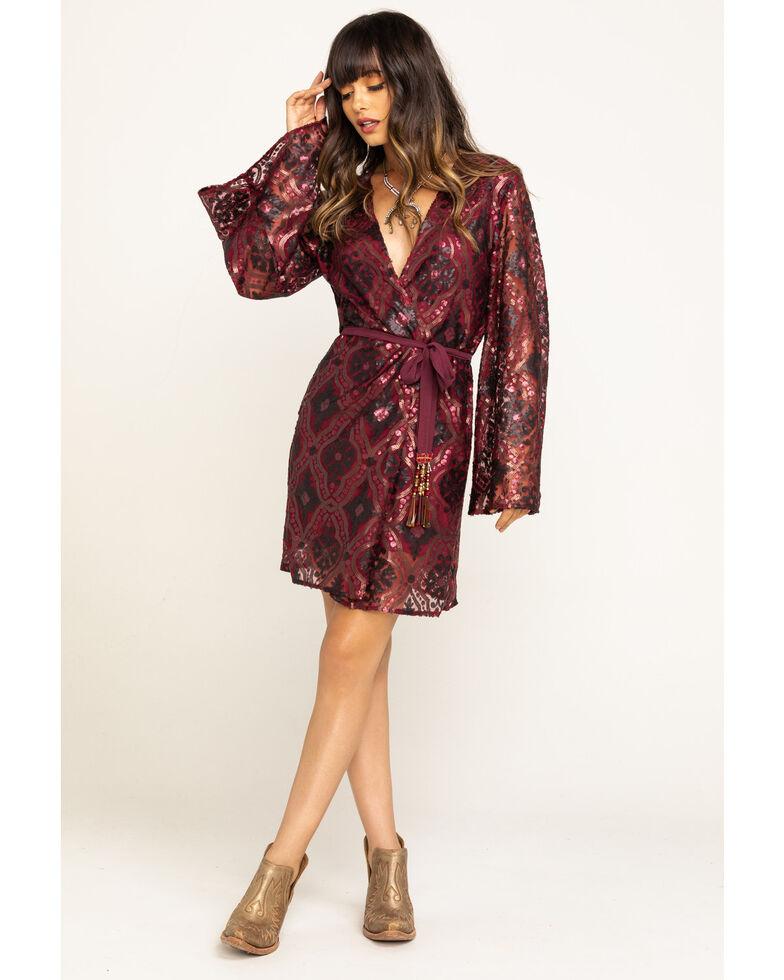 Aratta Women's Gold Wrap Long Sleeve Sequin Mini Dress , Red, hi-res