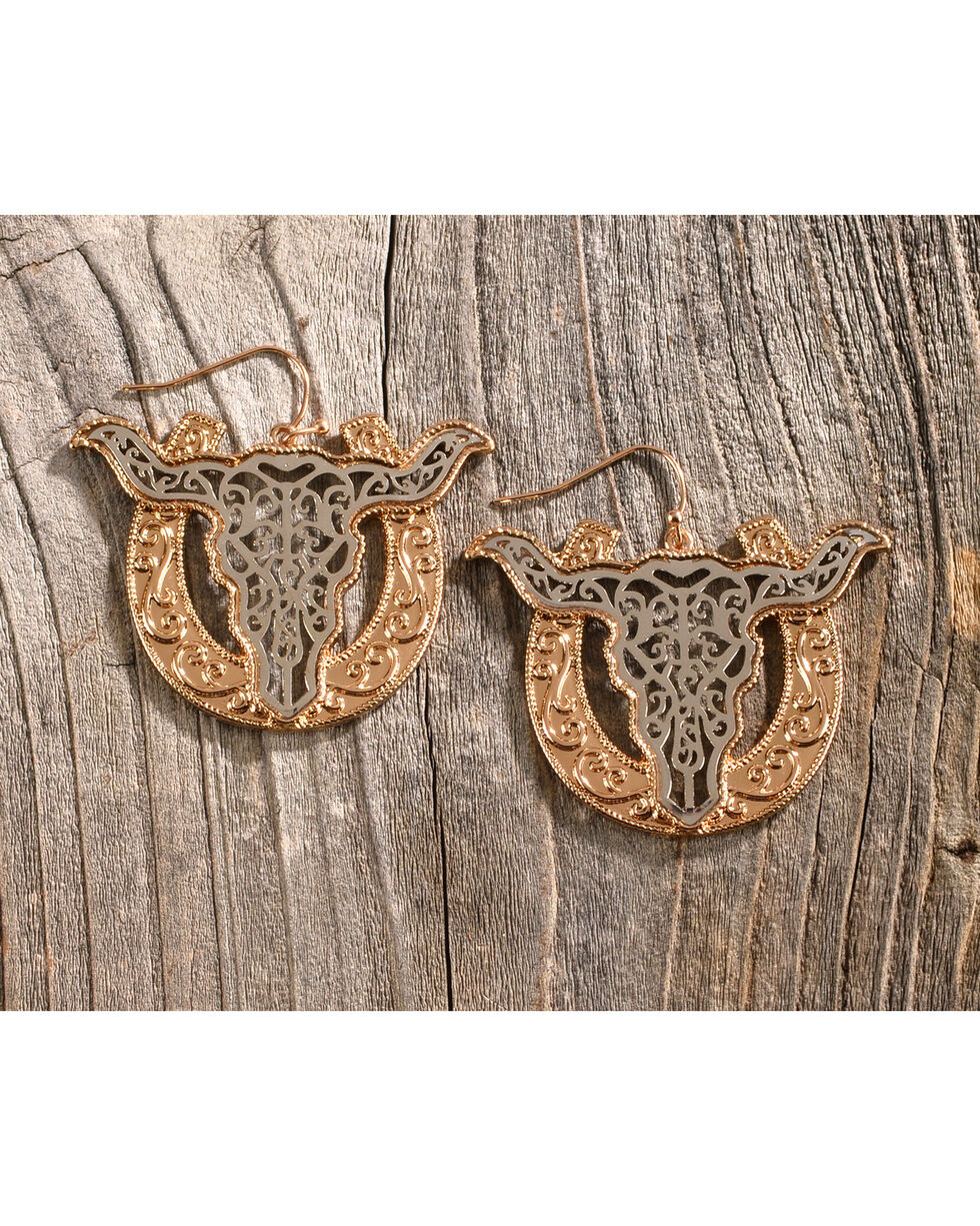 Shyanne Women's Silver & Gold Filigree Longhorn Earrings, Silver, hi-res