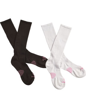 Dan Post Women's Cowgirl Certified Sleek Thin Socks - Black and White, Black/white, hi-res