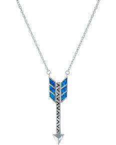 Montana Silversmiths Women Sky Fletched Arrow Necklace, Silver, hi-res