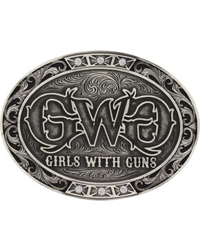 Montana Silversmiths Women's Silver Girls With Guns Belt Buckle, Silver, hi-res