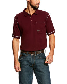 Ariat Men's Rebar Polo Work Shirt , Red, hi-res
