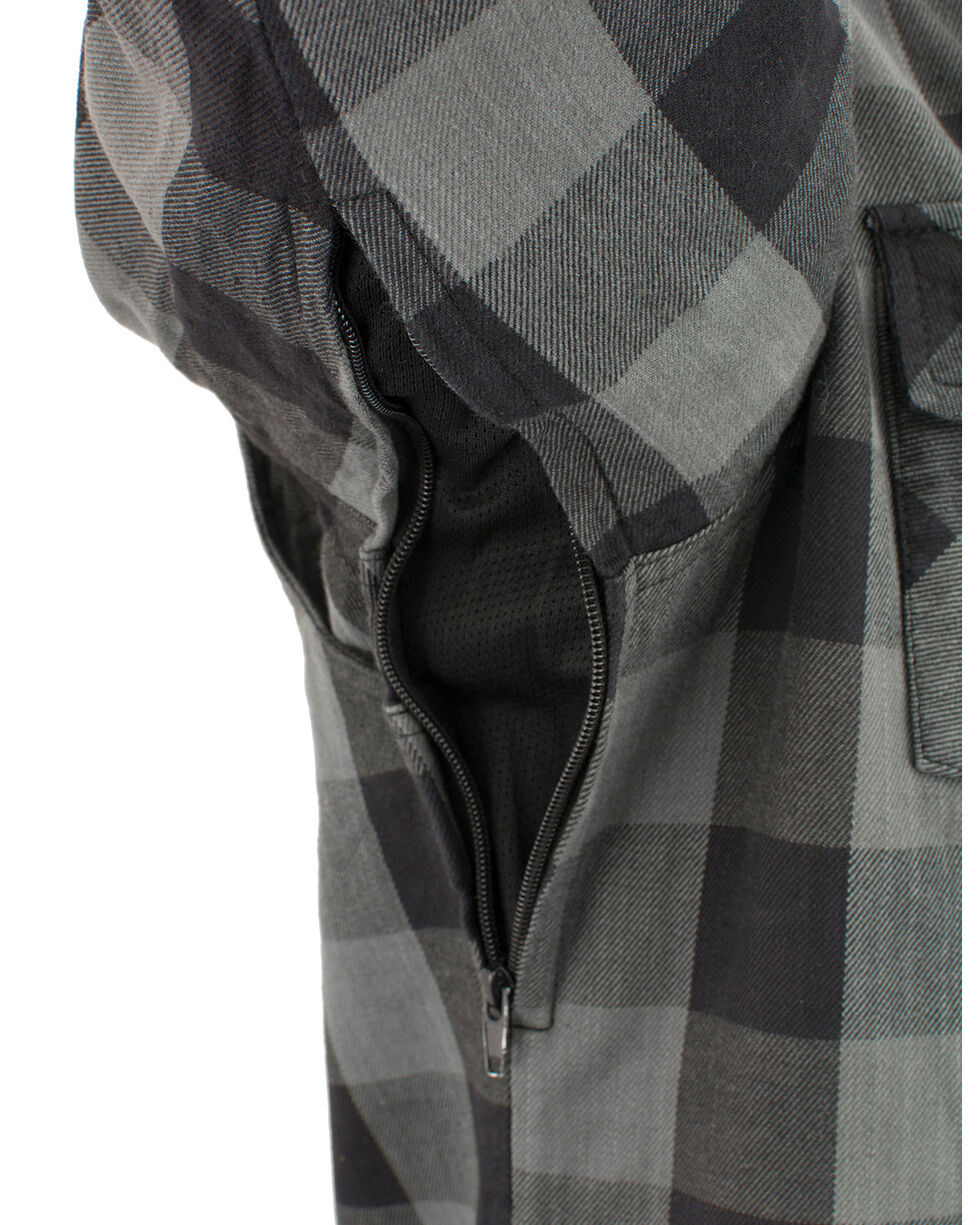 Milwaukee Performance Men's Aramid Checkered Plaid Biker Shirt - Big & Tall, Dark Grey, hi-res