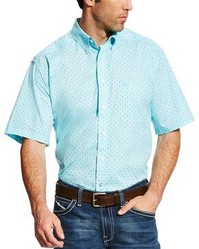 Ariat Men's Teal Geno Print Short Sleeve Shirt - Big & Tall, Teal, hi-res