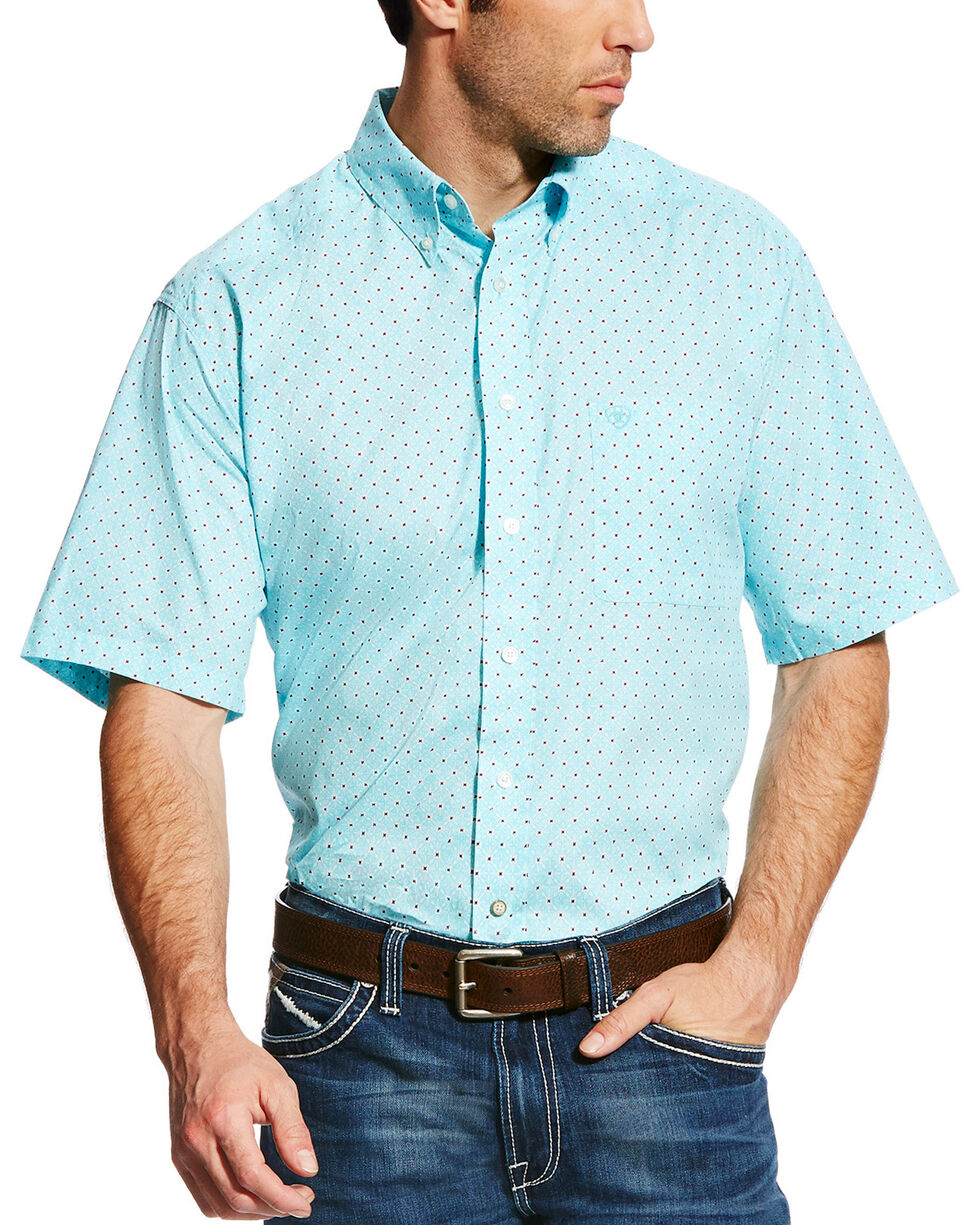 Ariat Men's Teal Geno Print Short Sleeve Shirt - Big & Tall, Teal, hi-res