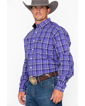 Cinch Men's Purple Plaid Long Sleeve Button Down Shirt, Purple, hi-res