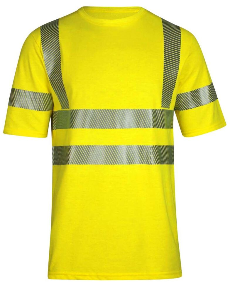 National Safety Apparel Men's Vizable FR Hi-Vis Pocket Short Sleeve Work Shirt - Tall, Bright Yellow, hi-res