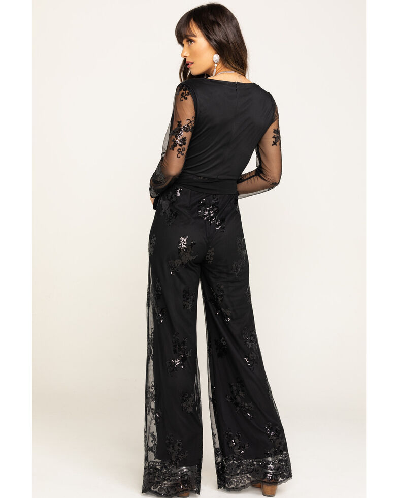 Flying Tomato Women's Black Sequin Embroidered Mesh Jumpsuit, Black, hi-res