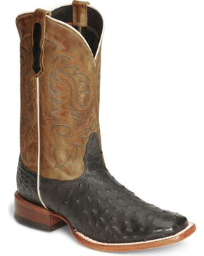 Nocona Men's Full Quill Ostrich Exotic Boots, Black, hi-res