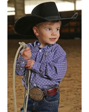 Cinch Infant Boys' Purple Geo Print Long Sleeve Shirt , Purple, hi-res
