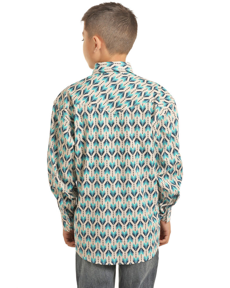 Rock & Roll Denim Boys' Ombre Arrow Print Long Sleeve Western Shirt , Turquoise, hi-res